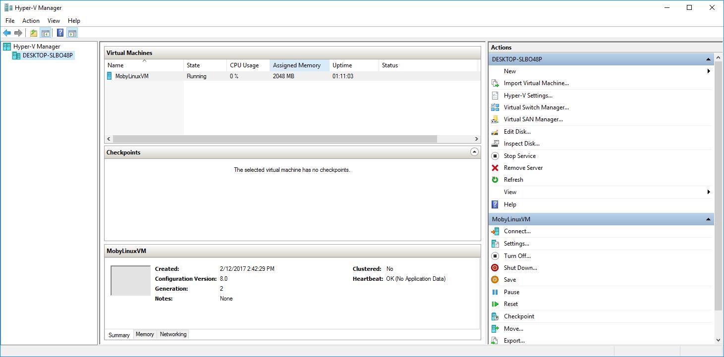 Hyper-V VM with Docker
